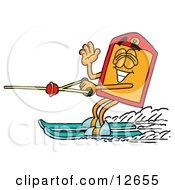 Price Tag Mascot Cartoon Character Waving While Water Skiing