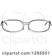 Clipart Of A Black And White Pair Of Eyeglasses Royalty Free Vector Illustration