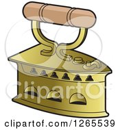 Clipart Of A Vintage Antique Brass Hand Iron Royalty Free Vector Illustration by Lal Perera