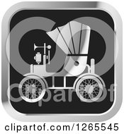 Clipart Of A Silver And Black Vintage Antique Car With A Horn Icon Royalty Free Vector Illustration by Lal Perera
