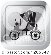 Clipart Of A Silver And Black Vintage Antique Car With A Horn Icon Royalty Free Vector Illustration
