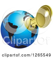 Clipart Of A Blue And Black Globe With A Key Inserted Royalty Free Vector Illustration by Lal Perera