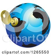 Clipart Of A Blue And Black Globe With A Key Inserted Into South America Royalty Free Vector Illustration by Lal Perera
