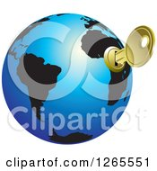 Clipart Of A Blue And Black Globe With A Key Inserted Into Africa Royalty Free Vector Illustration