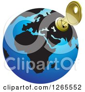 Clipart Of A Blue And Black Globe With A Key Inserted Into Russia Royalty Free Vector Illustration by Lal Perera