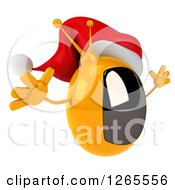Clipart Of A 3d Yellow Retro Christmas Tv Wearing A Santa Hat And Jumping Royalty Free Illustration