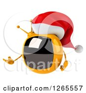 Clipart Of A 3d Yellow Retro Christmas Tv Wearing A Santa Hat And Presenting Royalty Free Illustration