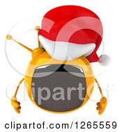 Clipart Of A 3d Yellow Retro Christmas Tv Wearing A Santa Hat And Pouting Royalty Free Illustration