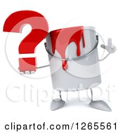 3d Can Of Red Paint Character Holding Up A Finger And A Question Mark