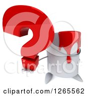 Clipart Of A 3d Can Of Red Paint Character Holding Up A Question Mark Royalty Free Illustration