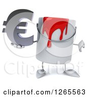 3d Can Of Red Paint Character Holding A Euro Symbol And Thumb Down