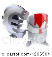 3d Can Of Red Paint Character Holding Up A Euro Symbol