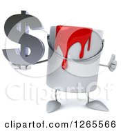 Clipart Of A 3d Can Of Red Paint Character Holding A Dollar Symbol And Thumb Up Royalty Free Illustration