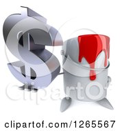 Clipart Of A 3d Can Of Red Paint Character Holding Up A Dollar Symbol Royalty Free Illustration