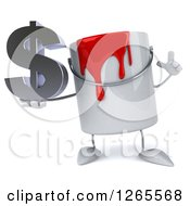 3d Can Of Red Paint Character Holding A Dollar Symbol