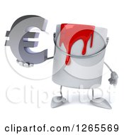 3d Can Of Red Paint Character Holding A Euro Symbol