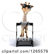 Clipart Of A 3d Giraffe Wearing Sunglasses And Running On A Treadmill Royalty Free Illustration