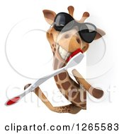 Clipart Of A 3d Giraffe Wearing Sunglasses And Using A Giant Toothbrush Around A Sign Royalty Free Illustration