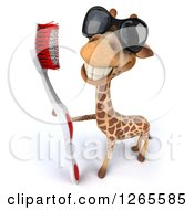 Clipart Of A 3d Giraffe Wearing Sunglasses And Holding A Giant Toothbrush Royalty Free Illustration