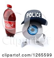 Clipart Of A 3d Blue Police Eyeball Character Holding A Soda Bottle Royalty Free Illustration
