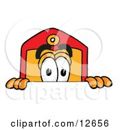 Clipart Picture Of A Price Tag Mascot Cartoon Character Peeking Over A Surface by Toons4Biz