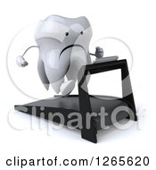 Clipart Of A 3d Unhappy Tooth Character Running On A Treadmill Royalty Free Illustration