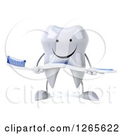 Clipart Of A 3d Happy Tooth Character Holding A Brush Royalty Free Illustration by Julos