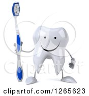 Clipart Of A 3d Happy Tooth Character Holding A Brush Royalty Free Illustration