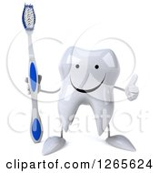 Clipart Of A 3d Happy Tooth Character Holding A Brush And Thumb Up Royalty Free Illustration