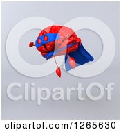 Clipart Of A 3d Red Super Hero Brain Flying Over Gray Royalty Free Illustration