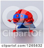 Clipart Of A 3d Red Super Hero Brain Presenting Over Gray Royalty Free Illustration