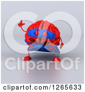 Clipart Of A 3d Red Super Hero Brain With An Idea Over Gray Royalty Free Illustration