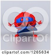 Clipart Of A 3d Red Super Hero Brain Over Gray Royalty Free Illustration