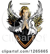 Clipart Of A Blond Caucasian Male Angel Praying Over A Shield Royalty Free Vector Illustration