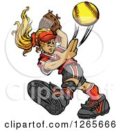 Clipart Of A Blond Tomboy Caucasian Girl Pitching A Softball Royalty Free Vector Illustration by Chromaco