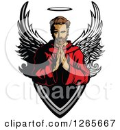 Clipart Of A Brunette Caucasian Male Saint Praying Over A Shield Royalty Free Vector Illustration by Chromaco