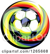 Clipart Of A Soccer Ball Over A Colorful Swirl Royalty Free Vector Illustration by Chromaco
