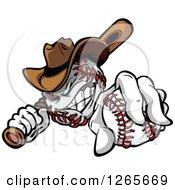 Tough Cowboy Baseball Mascot Holding A Bat And A Ball