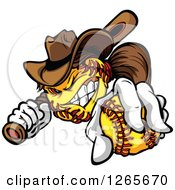 Clipart Of A Tough Cowgirl Softball Mascot Holding A Bat And A Ball Royalty Free Vector Illustration