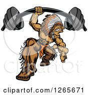 Clipart Of A Muscular Strong Native American Indian Man Lifrting A Heavy Barbell One Handed Royalty Free Vector Illustration by Chromaco