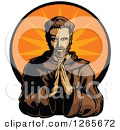 Clipart Of A Male Monk Praying Over An Orange Burst Royalty Free Vector Illustration
