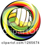 Clipart Of A Volleyball And Colorful Swirl Royalty Free Vector Illustration by Chromaco