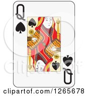 Clipart Of A Queen Of Spades Playing Card Royalty Free Vector Illustration