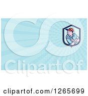 Clipart Of A Male Mechanic With A Wrench Business Card Design Royalty Free Illustration