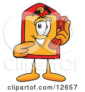 Clipart Picture Of A Price Tag Mascot Cartoon Character Holding A Telephone by Toons4Biz