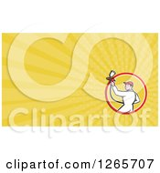Clipart Of A Male Painter Spraying Business Card Design Royalty Free Illustration