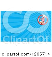 Clipart Of A Chef Pig Holding Soup And Blue Ray Business Card Design Royalty Free Illustration