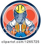 Clipart Of A Cartoon Gorilla Construction Worker In A Blue White And Red Circle Royalty Free Vector Illustration