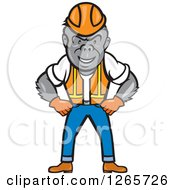 Clipart Of A Cartoon Gorilla Construction Worker Standing With His Hands On His Hips Royalty Free Vector Illustration