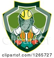 Cartoon Gorilla Construction Worker In A Yellow Green And White Shield